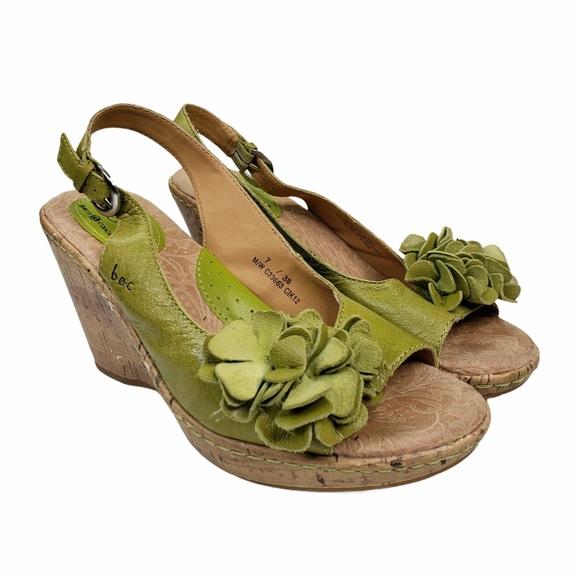 b.o.c Born Leather Slingback Wedge Sandals